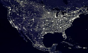 Night time in the U.S. from space.