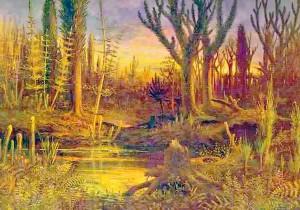 Artists impression of Devonian Period [Eduard Riou (1838-1900)]
